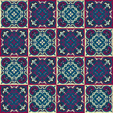 Hand drawing seamless pattern for tile in in dark blue, purple and yellow colors. Stock Image