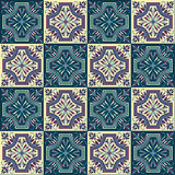 Hand drawing seamless pattern for tile in in dark blue, purple and yellow colors. Stock Photography