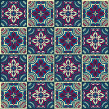 Hand drawing seamless pattern for tile in in dark blue, purple and yellow colors. Stock Photos
