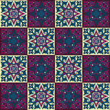 Hand drawing seamless pattern for tile in in dark blue, purple and yellow colors. Stock Images