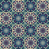 Hand drawing seamless pattern for tile in in dark blue, purple and yellow colors. Stock Photo