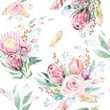 Hand drawing watercolor floral pattern with protea rose, leaves, branches and flowers. Bohemian seamless gold pink. Hand drawing seamless watercolor floral stock illustration