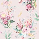 Hand drawing watercolor floral pattern with protea rose, leaves, branches and flowers. Bohemian seamless gold pink royalty free illustration