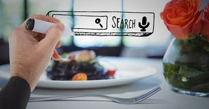 Hand drawing search bar against blurry dinner Stock Photography