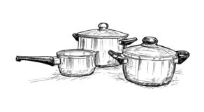 Hand Drawing of Set of Cooking Pots. Artistic pen and ink hand drawing illustration of set of cooking pots royalty free illustration
