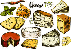 Hand drawing set with different cheeses. Royalty Free Stock Images