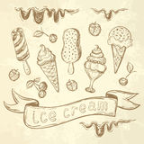Hand drawing set of ice cream Royalty Free Stock Photos