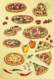 Hand drawing  set of pizza Stock Images