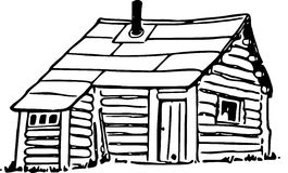 Line Art Hand Drawing Of A Shack Stock Photo