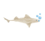 Hand drawing shark fish ocean species bubbles Royalty Free Stock Images