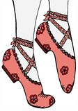 Hand drawing shoes ballerina illustration Royalty Free Stock Images