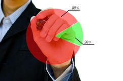Hand drawing showing graph. Young business hand drawing showing graph Stock Photo