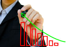 Hand drawing showing graph. Young business hand drawing showing graph Royalty Free Stock Images