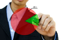 Hand drawing showing graph. Young business hand drawing showing graph Stock Image