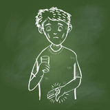Hand drawing Sick Man on Green board -Vector illustration Royalty Free Stock Photo
