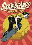Hand drawing of skateboarding competition poster Royalty Free Stock Image