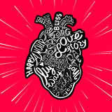 Hand drawing sketch anatomical heart. Lettering doodle vector illustration. Many inspirations in heart shape Stock Photography