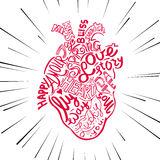 Hand drawing sketch anatomical heart. Lettering doodle vector illustration. Many inspirations in heart shape Stock Images