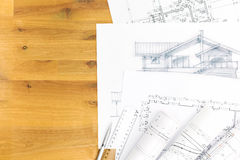 Hand drawing sketch with blueprints Royalty Free Stock Photography