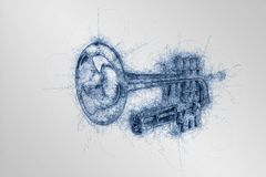 Hand drawing sketch of classical silver music trumpet. In perspective on white background stock illustration