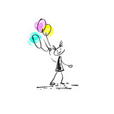 Hand drawing sketch doodle human stick figure cheerful girl. With balloons on paint colored spot background, vector illustration Royalty Free Stock Photography