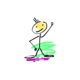 Hand drawing sketch doodle human stick figure cheerful person. On paint colored spot background, vector illustration Royalty Free Stock Images