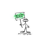 Hand drawing sketch human smile stick figure with exit signs Royalty Free Stock Images