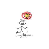 Hand drawing sketch human smile stick figure flower Stock Photos