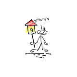 Hand drawing sketch human smile stick figure with house sign Royalty Free Stock Photos