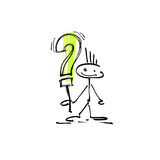 Hand drawing sketch human smile stick figure question mark Stock Photos