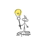 Hand drawing sketch human smile stick figure sign lamp Stock Photo