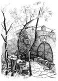 Hand drawing sketch old bridge Stock Photo