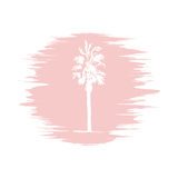 Hand drawing sketch of palm tree logotype. Vector palm tree Stock Image