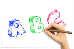 Hand drawing sketchy ABC letters. On white sheet of paper Stock Photo