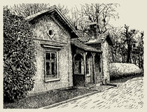 Hand drawing sketchy artistic village landscape Royalty Free Stock Photo