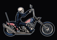 Hand drawing skull riding a chopper motorcycle Royalty Free Stock Photos