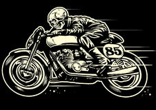 Hand drawing of skull riding vintage motorcycle. Vector of Hand drawing of skull riding vintage motorcycle Stock Image