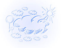 Hand drawing sky with clouds and sun. Royalty Free Stock Photo