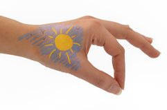 Hand drawing, sky and sun Stock Images