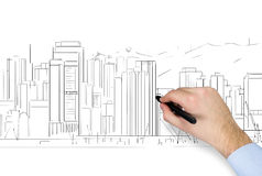 Hand drawing skyscraper Stock Photography