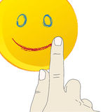 Hand drawing a smiling face. Illustration of hand drawing a smiling face sun isolated over white background of a tablet pc. Additional carefully layered  file Stock Photography