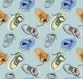 Hand drawing sneakers shoes pattern Royalty Free Stock Images