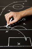 Hand drawing a soccer game strategy. With white chalk on a blackboard Royalty Free Stock Images