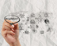 Hand drawing social media icon with crumpled recycle paper backg Royalty Free Stock Photography