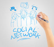 Hand drawing social network friendship Stock Images