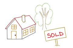 Hand drawing sold house Royalty Free Stock Image