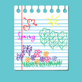 Hand-drawing spring season scene, vector. Style child`s drawing in the notebook Royalty Free Stock Image