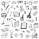 Hand drawing of stationery vector set Royalty Free Stock Images