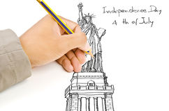 Hand drawing Statue of Liberty line Royalty Free Stock Photography