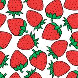 Hand drawing Strawberry Fashion sketch seamless pattern isolated on white background. Vector illustration print design. Hand drawing Strawberry Fashion seamless royalty free illustration